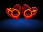 Two hearts with male and female symbols — Zdjęcie stockowe