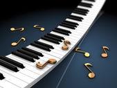 Piano keyboard and notes — Stock Photo