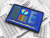 Tablet s diagramy — Stock fotografie