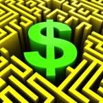 Dollar in maze — Stock Photo #4587056