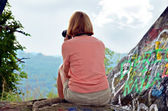 Woman Taking Aerial Landscape Photo — Stock Photo