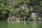 Kayak at a Rock Wall — Stock Photo