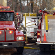 Firetrucks at a House Fire - Stock Photo