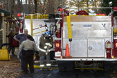 Firemen and Police on Site Getting Ready — Stock Photo
