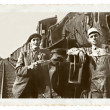 Vintage Photo Men and a Train — Stock Photo #19492573