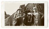 Vintage Photo Men and a Train — Stock Photo