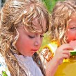 Cute Girls Eating Watermelon — Stock Photo