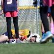 Goalie Injured in Lacrosse Game — Stock Photo