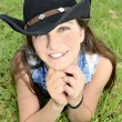 Teenage Girl with Cowboy Hat — Stock Photo