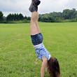Girl Handstand Outdoors — Stock Photo