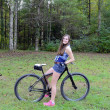 Teen Girl and Mountain Bike — Stock Photo