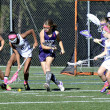 Young Girls Lacrosse Action at the Goal — Stock Photo