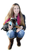 Teenager Kneeling with Puppy — Stock Photo