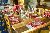 Boże Narodzenie tabeli Ustawienia — Zdjęcie stockowe