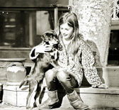 Young Girl with Dog — Stock Photo
