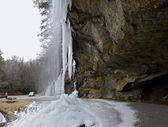 Frozen Waterfall Beside a Road — Stock Photo