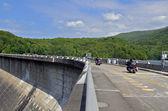 Motorcycles Riding Across Dam — Photo