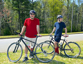 Father and Son Mountain Bikers — Stock Photo