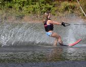 Young Girl Slalom Skier — Stock Photo