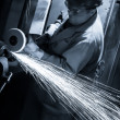 Worker at the factory. Production of metal — Stock Photo