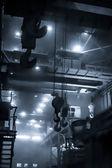 Opencast mine excavator and railway — Stock Photo