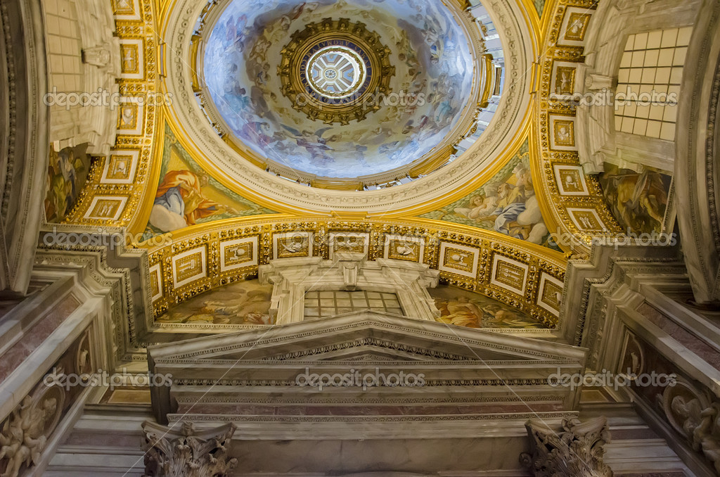 Interior of the Saint Peter Cathedral in Vatican. SaintPeter&#039;s Basilica has the largest interior of any Christian church in the world  Stock Photo #12549217
