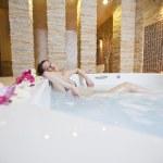 Girl in hot tub — Stock Photo