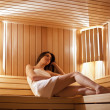 Girl in the sauna - Stock Photo