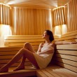Girl in sauna - Stock Photo