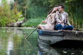 Couple in the boat — Stock Photo