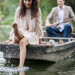 Stock Photo: Couple in boat