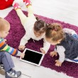 Stock Photo: Kids with tablet
