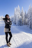 Young woman on winter vacation — Stock Photo