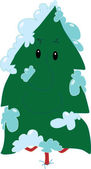 Pine tree at winter — Stock Vector