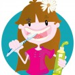 Cute girl washing teeth - Vettoriali Stock