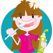 Cute girl washing teeth - Stock vektor