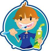 Cute little boy washing teeth — Stock Vector