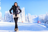 Young woman on winter holidays — Stock Photo