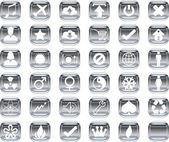 Silver icons — Stock Vector