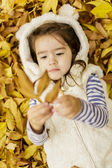 Little girl at the autumn leaves — Стоковое фото