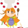 Cooking girl — Stock Vector