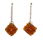 Brown crystal cluster earrings — Stock Photo