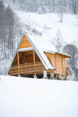 Wooden house at winter — Stock fotografie