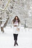 Mladá žena v zimě — Stock fotografie