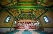Interior of the orthodox wooden church — Stock Photo