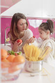 Mother and daughter in the kitchen — Stock Photo