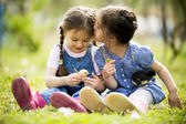 Two little girls with chickens — Stock Photo