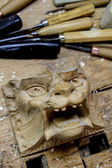 Detail from the carving workshop — Stock Photo