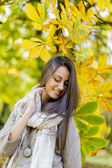 Young woman in autumn forest — Stock Photo