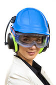 Young woman in protective workwear — Photo
